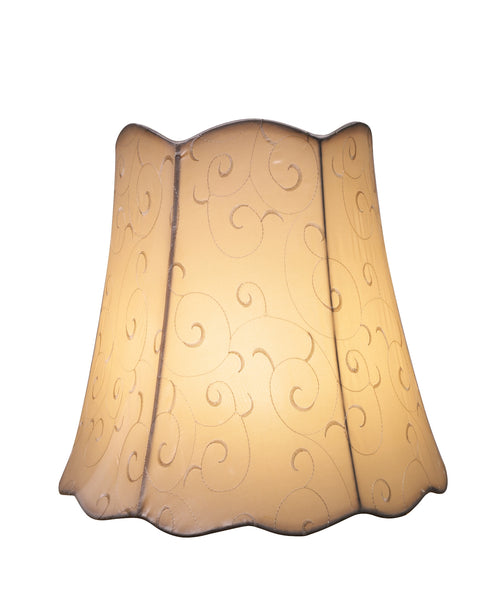 "# 34061 Transitional Scallop Bell Shape Spider Construction Lamp Shade in Beige, 16"" wide (10"" x 16"" x 15"")"
