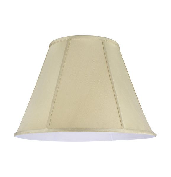 "# 35001   Transitional Hexagon Bell Shape Spider Construction Lamp Shade in Beige Textured Fabric, 18"" wide (9"" x 18"" x 13"")"