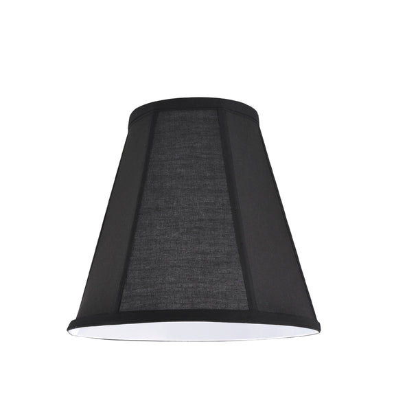 "# 35006  Transitional Hexagon Bell Shape Spider Construction Lamp Shade in Black Cotton Fabric, 10"" wide (5¼"" x 10"" x 9 1/2"")"