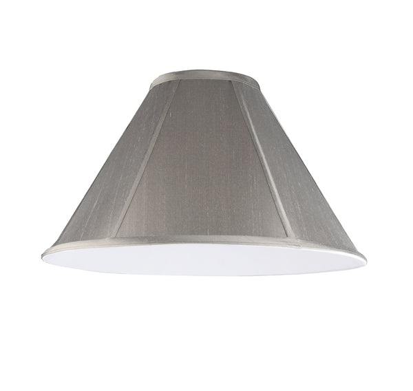 "# 35009  Transitional Hexagon Bell Shape Spider Construction Lamp Shade, Light Grey Faux Silk Fabric, 15"" wide (5"" x 15"" x 10"")"