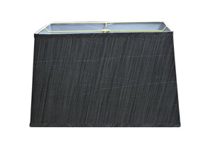 "# 36022 Transitional Rectangular Hardback Shaped Spider Construction Lamp Shade in Grey & Black, 16"" wide, Top: (8"" + 14"") Bottom: (10"" + 16"") x Height: 10"""