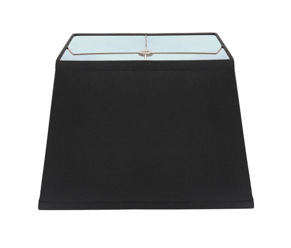 "# 36121 Transitional Rectangle Hardback Shape Spider Construction Lamp Shade in Black, 14 1/2"" wide, Top:(8"" + 11"") Bottom:(9 1/2"" + 14 1/2"")  x Height: 10"""