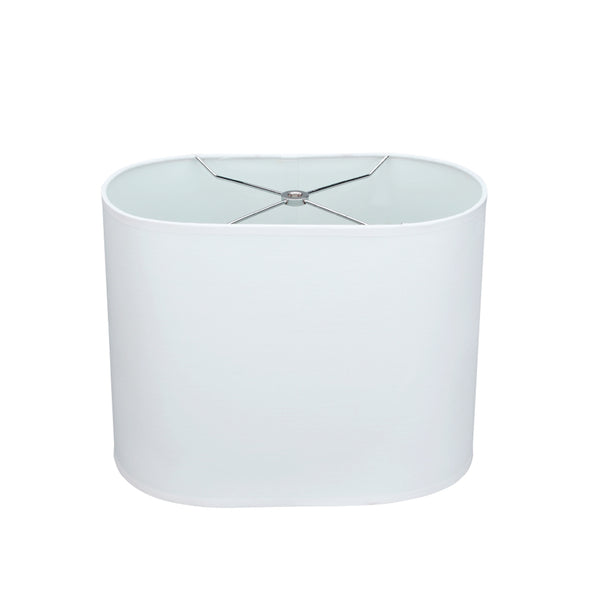 "# 37001 Transitional Oval Hardback Spider Construction Shade in Off-White, 13 1/2"" wide (8"" + 13 1/2"") x (8"" + 13 1/2"") x 10 1/2"""