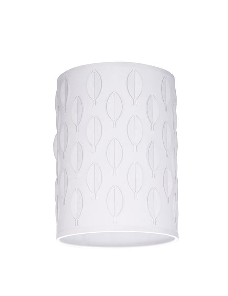 "# 39221 Transitional Drum (Cylinder) Laser Cut Shaped Spider Construction Lamp Shade in Off-White, 8"" wide (8"" x 8"" x 11"")"