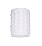 "# 39222 Transitional Drum (Cylinder) Laser Cut Shaped Spider Construction Lamp Shade in Off-White, 8"" wide (8"" x 8"" x 11"")"