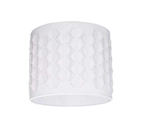"# 39241 Transitional Drum (Cylinder) Laser Cut Shaped Spider Construction Lamp Shade in Off-White, 12"" wide (12"" x 12"" x 10"")"