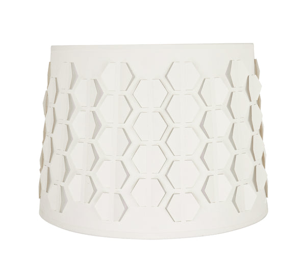 "# 39341 Transitional Empire Laser Cut Shaped Spider Construction Lamp Shade in Off-White, 14"" wide (12"" x 14"" x 10"")"