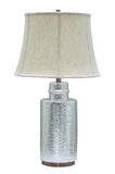 "# 40001, 28 1/2"" High Transitional Ceramic Table Lamp, Chrome with Antique Copper Base and Bell Shaped Lamp Shade in Off White, 17"" Wide"