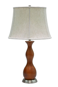 "# 40002, 28"" High Transitional Wooden Table Lamp, Brown Wood with Satin Nickel Base and Bell Shaped Lamp Shade in Off White, 16"" Wide"