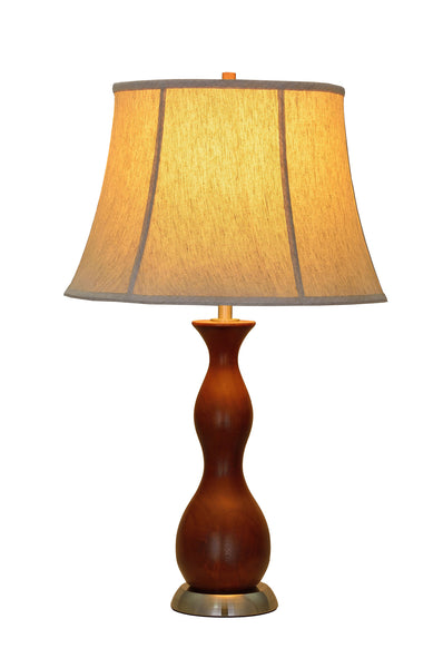 "# 40002 28"" High Transitional Wooden Table Lamp, Brown Wood/Satin Nickel Base, Off White Bell Shaped Shade, 16"" W"