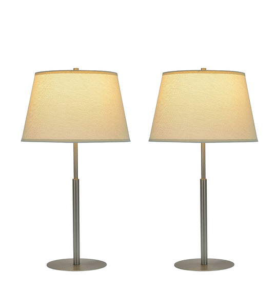 "# 40003   Two Pack - 29"" Table Lamp in Matte Brushed Nickel with Hardback Shade - Aspen Creative Corporation"