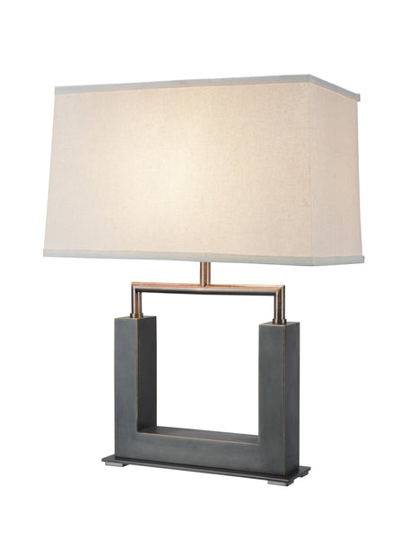 "# 40004 22 1/2"" High Modern Metal Table Lamp, Matte Brushed Nickel, Rectangle Hardback Shaped Lamp Shade in Off White, 16"" x 8 1/2"" W"