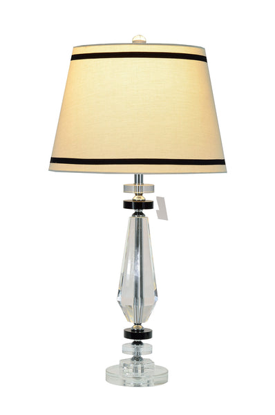 "# 40005 29 1/2"" High Transitional Crystal Glass Table Lamp, Chrome Finish/Crystal, Off White Hardback Empire Shaped Shade, 15"" W"