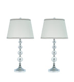 "# 40006 Two Pack Set, 30"" H Transitional Crystal Glass Table Lamp, Chrome Finish, Off White Hardback Empire Shaped Shade, 15"" W"