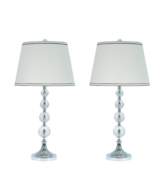 "# 40006 Two Pack - 30"" Crystal Table Lamp in a Chrome Finish with Hardback Shade - Aspen Creative Corporation"