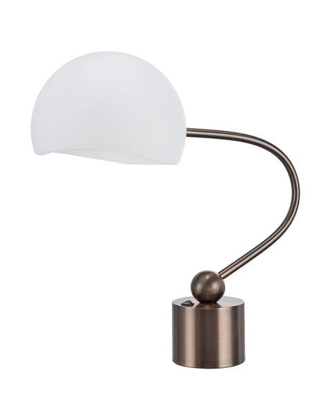"# 40007  21"" Desk Lamp in an Antique Copper Finish with a 10""W x 7""H Frosted Glass Shade - Aspen Creative Corporation"