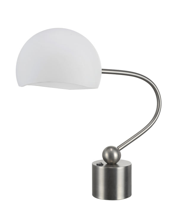 # 40008 21 Inch High Transitional Metal Desk Lamp in a Pewter Finish with a Frosted Glass Lamp Shade, 10