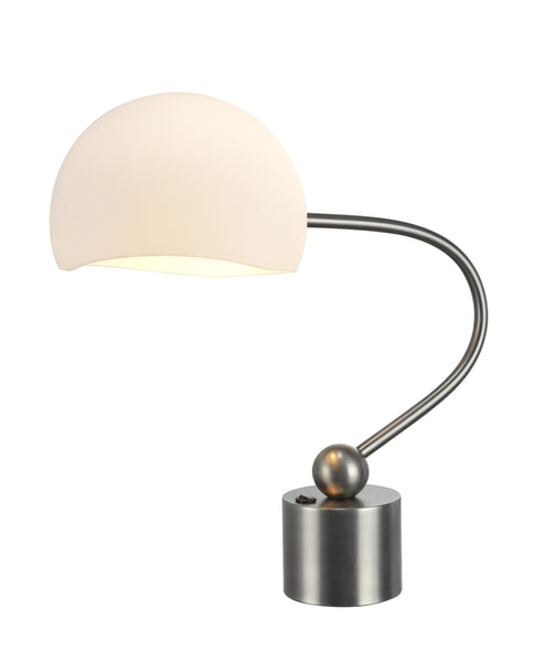 "# 40008 21 Inch High Transitional Metal Desk Lamp in a Pewter Finish with a Frosted Glass Lamp Shade, 10"" Wide and 7"" High, REGULAR PRICE $143.99 - Now..."