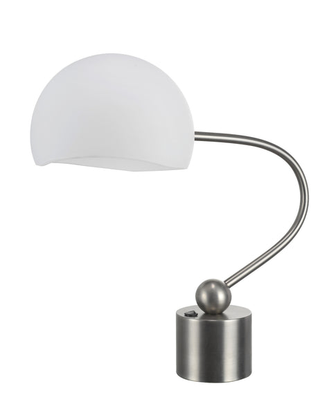 "# 40008 21"" Desk Lamp in a  Pewter Finish with a 10""W x 7""H Frosted Glass Shade - Aspen Creative Corporation"