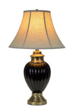 "# 40011 29"" High Traditional Ceramic Table Lamp, Black with Antique Brass Base, Off White Bell Shaped Lamp Shade, 17"" Wide,  REGULAR PRICE $126.99 - Now..."