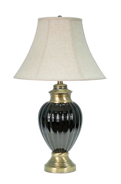 "# 40011 29"" Ceramic Table Lamp in Black with Antique Brass accents with a Bell Shade - Aspen Creative Corporation"