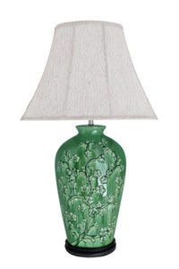 "# 40013 33 1/2"" H Traditional Green Ceramic Table Lamp, Dark Brown Wood Base, Off White Oval Bell Shade, 20"" W"