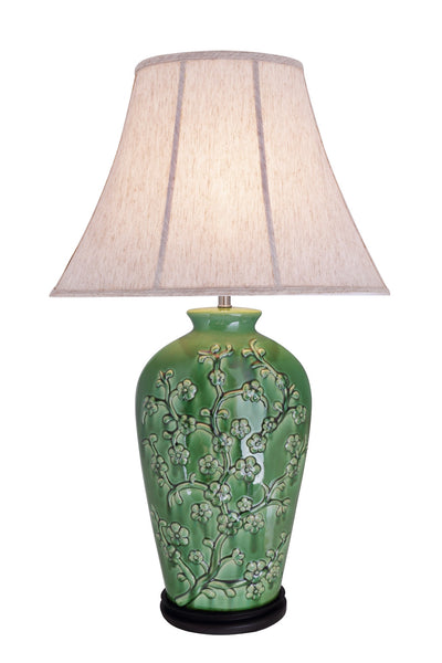"# 40013 33 ½"" Ceramic Table Lamp in a Green Glaze Finish with an Oval Bell Shade - Aspen Creative Corporation"