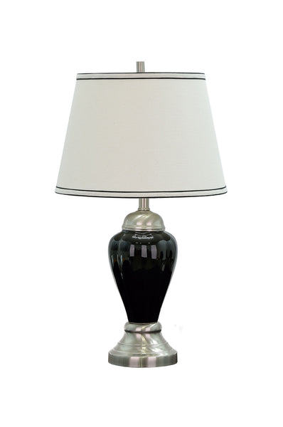 "# 40015 26"" Ceramic Table Lamp in Black with Satin Nickel accents and Hardback Shade - Aspen Creative Corporation"
