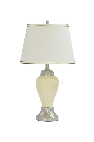 "# 40016 26"" Ceramic Table Lamp in Beige with Satin Nickel accents and Hardback Shade - Aspen Creative Corporation"