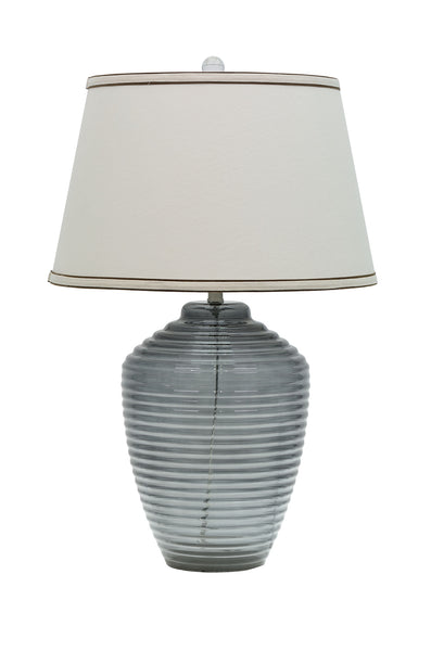 "# 40017 25"" Translucent Glass Table Lamp in Smoke Colored Finish with Hardback Shade - Aspen Creative Corporation"