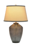 "# 40017, 25"" High Modern Glass Table Lamp, Smoke Colored Finish with Empire Shaped Lamp Shade in Off White, 16"" Wide"