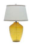 "# 40018, 25"" High Modern Glass Table Lamp, Amber Colored Finish with Empire Shaped Lamp Shade in Off White, 16"" Wide"