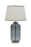 "# 40019, 26 1/2"" High Modern Glass Table Lamp, Smoke Colored Finish with Empire Shaped Lamp Shade in Off White, 15"" Wide"