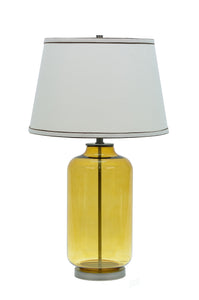 "# 40020, 26 1/2"" High Modern Glass Table Lamp, Amber Colored Finish with Empire Shaped Lamp Shade in Off White, 15"" Wide"