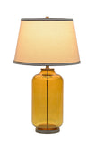 "# 40020 26 1/2"" High Modern  Glass Table Lamp, Amber Colored Finish with an Off White Empire Shaped Lamp Shade, 15"" W"