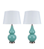 "# 40021 Two Pack 26"" H Modern Glass Table Lamp, Turquoise, Antique Copper Base, White Hardback Empire Shade, 15"" W"