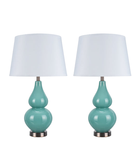 "# 40021 26"" Glass Table Lamp in Turquoise Finish with Antique Red Copper accents - Aspen Creative Corporation"