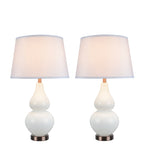 "# 40023 Two Pack 26"" H Modern Glass Table Lamp, White, Antique Copper Base, White Hardback Empire Shade, 15"" W"