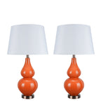 "# 40024 Two Pack 26"" H Modern Glass Table Lamp, Tangerine, Antique Copper Base, White Hardback Empire Shade, 15"" W"