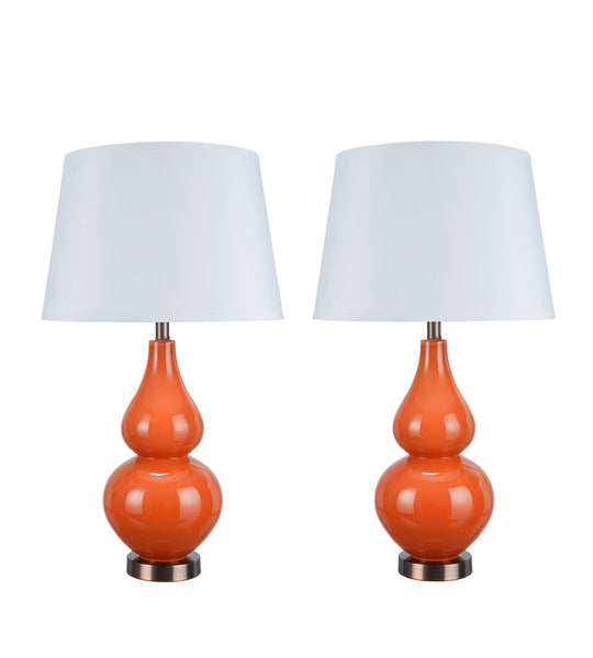 "# 40024 Two Pack - 26"" Glass Table Lamp in Tangerine with Antique Red Copper accents - Aspen Creative Corporation"