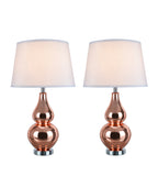 "# 40026 Two Pack 26"" H Modern Glass Table Lamp, Red Copper, Chrome Base, White Hardback Empire Shade, 15"" W"