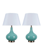 "# 40027 2 Pack 23"" H Modern Glass Table Lamp, Turquoise, Antique Copper Base, White Hardback Empire Shade, 14 1/2"" W"