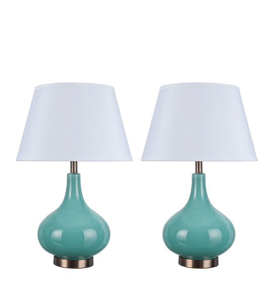 "# 40027  Two Pack - 23"" Glass Table Lamp in Turquoise with Antique Red Copper accents - Aspen Creative Corporation"