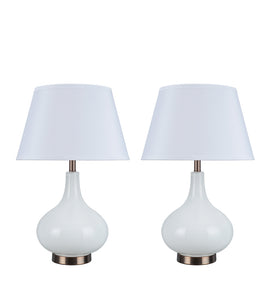 "# 40029, Two Pack Set 23"" High Modern Glass Table Lamp, White with Antique Red Copper Base and Hardback Empire Shaped Lamp Shade in White, 14 1/2"" Wide"