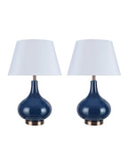 "# 40031 2 Pack 23"" H Modern Glass Table Lamp, Navy Blue, Antique Copper Base, White Hardback Empire Shade, 14 1/2"" W"