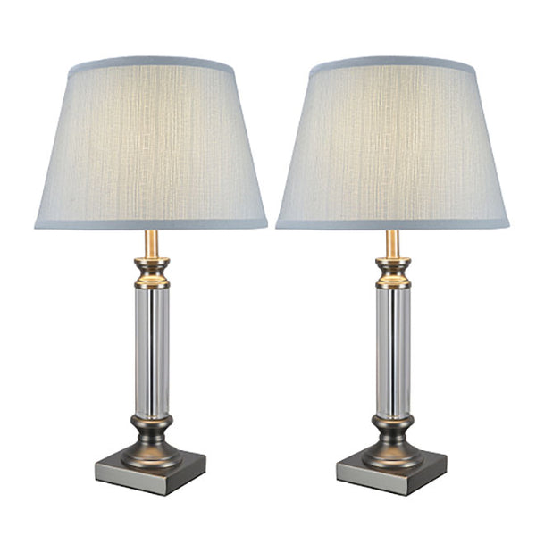 "# 40033-1 Two Pack 23 1/2"" High Contemporary Table Lamp, Pewter Finish with Light Blue Empire Shaped Shade, 13"" W"