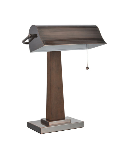 "# 40036 17"" High Traditional Piano Lamp in Autumn Red Copper Finish and Brown Wood Base and Metal Lamp Shade, 12"" W"