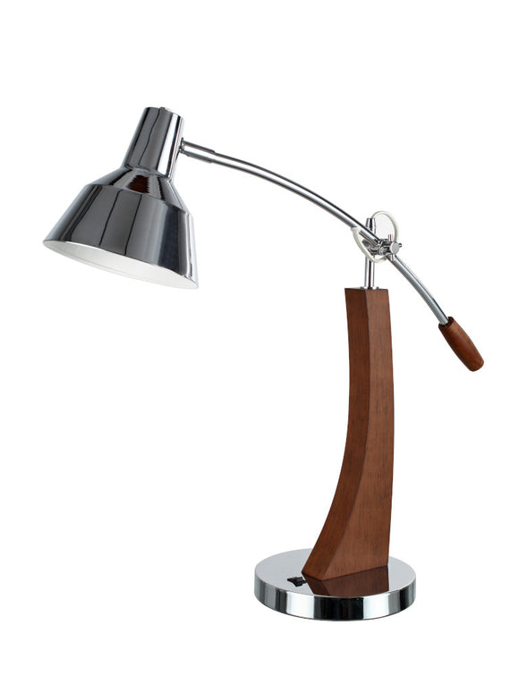 # 40037 26 Inch High Modern Metal Desk Lamp in a Chrome Finish with Wood Accents and a Metal Lamp Shade, 25 1/2