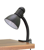 "# 40038-1, One-Light High Clip Lamp with Metal Lamp Shade and Rotary Switch, Modern Design in Black, 16"" High"