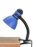 "# 40038-3, One-Light High Clip Lamp with Metal Lamp Shade and Rotary Switch, Modern Design in Black & Blue, 16"" High"